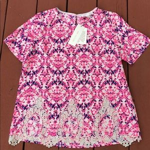 NWT MISS ME COUTURE PINK LACE BLOUSE, size Large